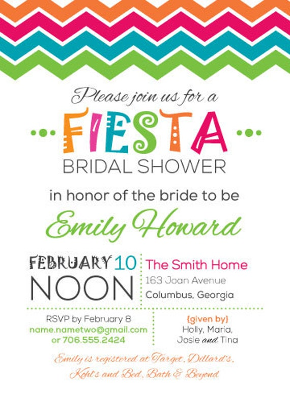 items similar to bridal shower fiesta invitation on etsy. Black Bedroom Furniture Sets. Home Design Ideas