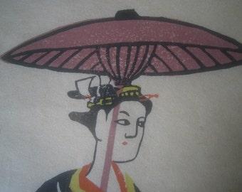 Mod Japanese woodblock print