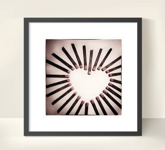 Heart with Matches. Valentine's Day. Love. Romance. Abstract Photography. Print by OneFrameStories.