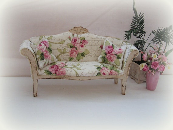dollhouse miniature shabby chic sofa. Black Bedroom Furniture Sets. Home Design Ideas
