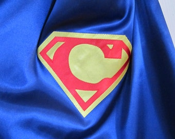 Personalized superhero cape: super hero cape with custom initial.  Available in 3 sizes