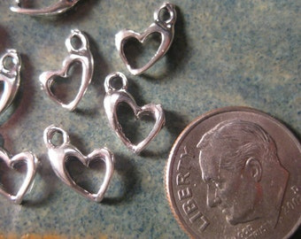 10% OFF ;). 3 Sterling Silver Heart Charm, Small, 7.5x10.5, 1.5mm Hole Wholesale