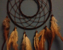 Brown faux suede trim dream catcher, brown web, rooster feathers and hoop insert finish 15cm diameter dreamcatcher hand made
