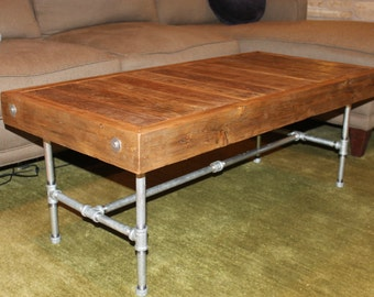 Industrial Modern Reclaimed Wood Coffee Table - Made to Order
