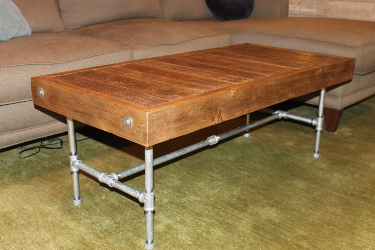 Industrial modern reclaimed wood coffee table made to order Recycled wood coffee table