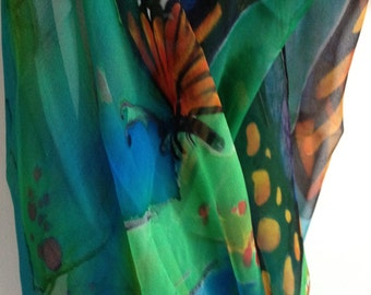 "Hand painted silk shawl ""sommer day with butterflys"", blue, green, amber, crep-de-chine, shawl 45-180 cm"