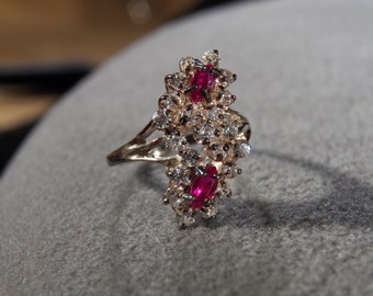 Vintage Sterling silver Round Marquise Clear Ruby Red Cubic Zirconia Cluster Spray Band Ring, Size8