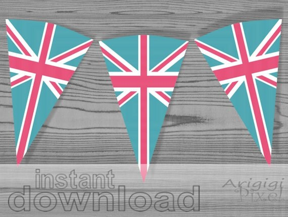 pink turquoise party banner inspired by Union Jack flag - printable PDF