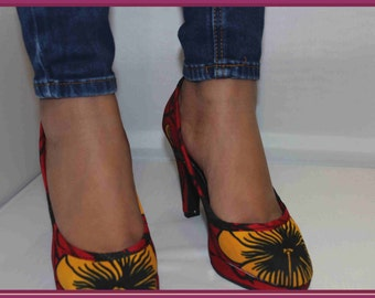Shoes in African cotton fabric