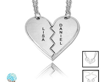 Personalized Sterling Silver Breakable Heart Necklaces