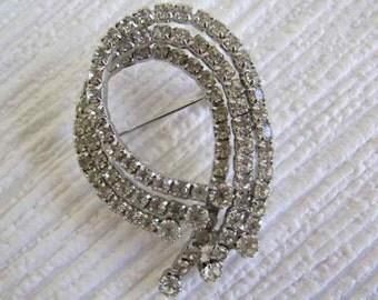 Diamanté Swirl Brooch, Evening Glamour Brooch.