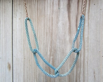Green blue coppery verdigris chain necklace