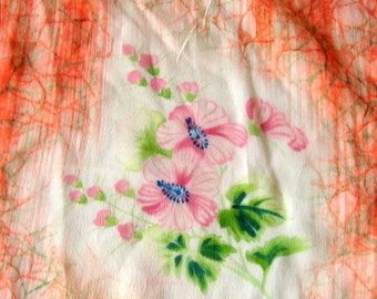 Silk Scarf Hand Painted Occupied Japan Flowers Coral Pink Blue White Wall Art Pillow New Condition