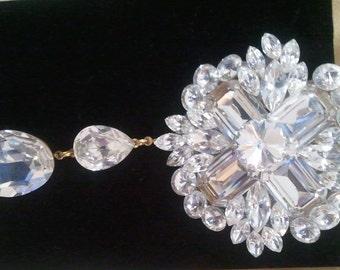 Dangling Swarovski Crystal Brooch