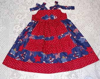 Patriotic Red, White, Blue Star Knot Dress, Size 5