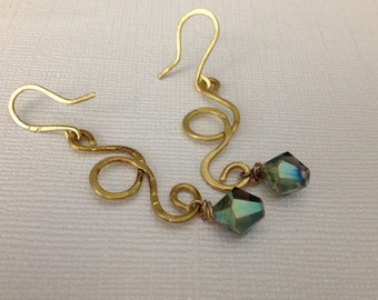 Brass wire loops with aurora borealis beads