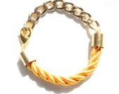 Gold Chunky Chain with Gold/Yellow Rope Bracelet