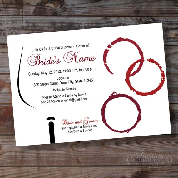 items similar to wine theme custom bridal shower party invitation 6 ready to print printable or printed on etsy