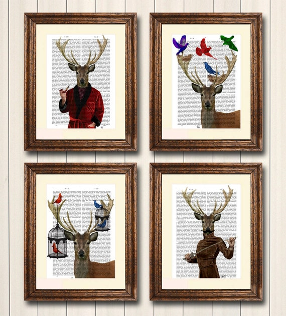 Deer Collection, Set of 4 Art Prints Illustration Drawing Poster Digital Print Wall Art Wall Décor Wall Hanging