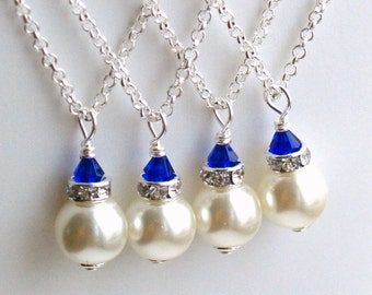 Royal Blue Necklace, Bridesmaid Gift Jewelry, Royal Blue Ivory Swarovski Pearl Beads Bridesmaid Necklace, Bridesmaid Jewelry Wedding party