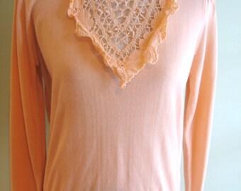 80's Vintage E.V. Ltd Size Large Coral/Shrimp/Pink/Sweater/Crochet Detail