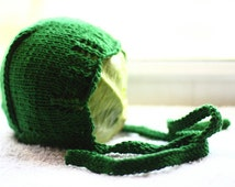 EMERALD SPARKLE handmade baby's knitted bonnet, bamboo yarn bright green, nb, 0-3, 3-6, 6-12 months hat, lace edges, spring, summer, autumn
