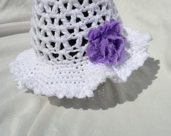 Crochet cotton toddler child sun hat Custom made to order
