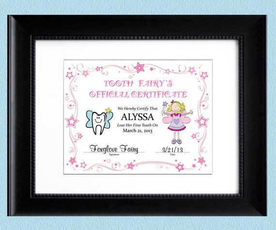 It is a picture of Influential Tooth Fairy Certificate Printable Girl
