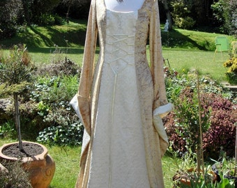 Bespoke Gold  Celtic fairy   Medieval  renaissance pagan handfasting wedding gown / party dress  8 to 14