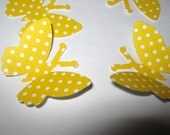 56 Yellow and White Polka Dots Large Butterfly  Punches Punch Outs Die Cuts cut outs
