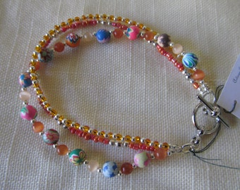 """Handmade For You 7"""" - 7 1/4"""" Triple Strand Catseye Coral Orange Silver Flower Floral Polymer Clay Beaded Bracelet Toggle Clasp B23"""
