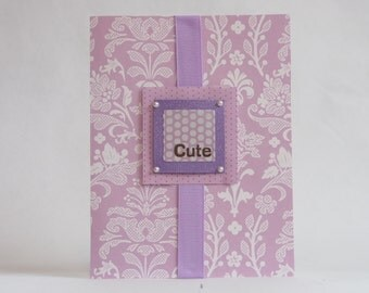 "Purple ""Cute"" Baby Girl Card"
