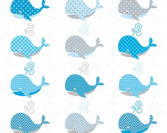 Whale Clip Art , Cute Baby Whale,blue baby Whale perfect for Scrapbook, Cards, Invitations,Personal and Commercial Use Oth008