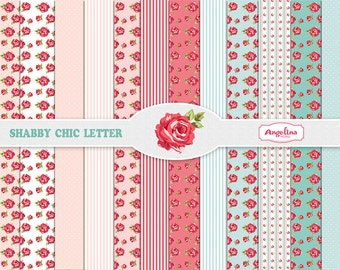12 Shabby Chic Rose Digital Scrapbook Papers 8x11 inch for invites, letters, card making, digital scrapbooking