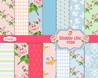 14 Shabby Chic Rose Digital Scrapbook Paper pack for invites, card making, digital scrapbooking