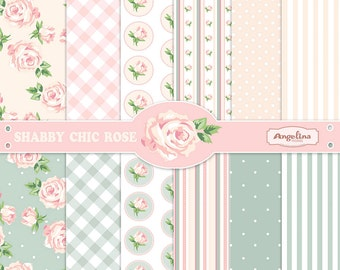 12 Shabby Chic Rose Digital Scrapbook Papers. 3 vector images in 1 EPS for invites card making digital scrapbooking
