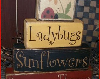Summer Thyme Ladybugs Sunflowers Primitive block Sign