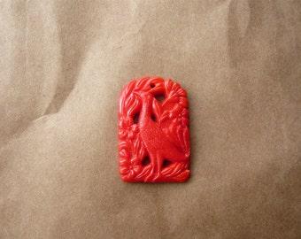 Vintage Glass Red Bird Pendant