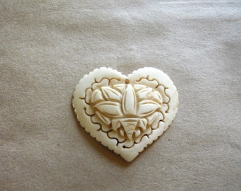 Vintage Carved Lotus Heart Pendant