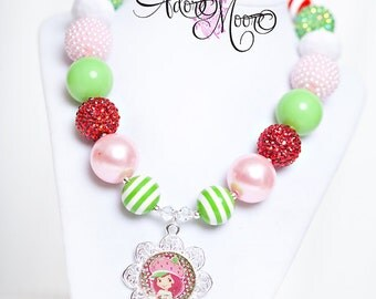 Strawberry Necklace, Kids Necklace, Chunky Necklace, Chunky Bead Necklace, Child Girls Necklace