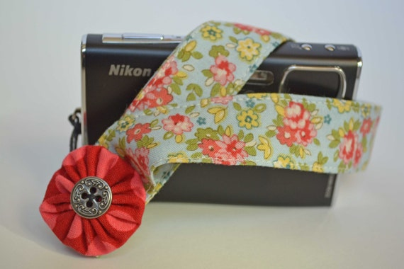 Padded Camera Wrist Strap - Blue Floral with Michael Miller Ta Dot Flower