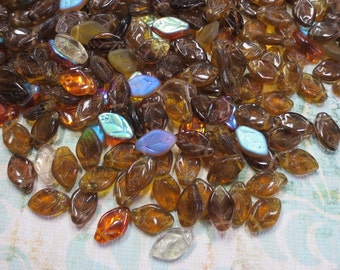 Dark Topaz Mix, Czech Glass Leaves, 24 Beads- Item 130