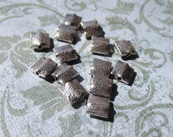 Textured 6mm Square Sterling Silver Beads, 4 Beads - Item 284