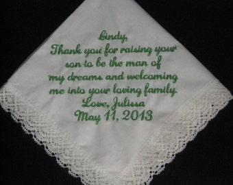 Wedding Handkerchief Mother of Groom from Bride - Gift for new Mother in Law - Bride to groom mom