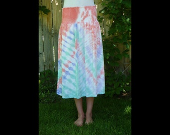 Womens rayon long skirt or sundress- tie-dye