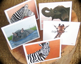 African Animal Cards  - 5 pack - Prints from original artwork, blank greeting card, any occasion - Noel's Ark