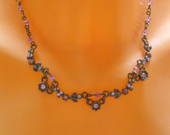 Mother of the bride jewelry, Wedding jewelry, Flowers rose ruby Vintage style Swarovski crystal necklace,