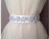 Spanish Embroidered Wedding Beaded Satin Sash, Bridal Sequins Beaded Roses Belt - Alia Belt