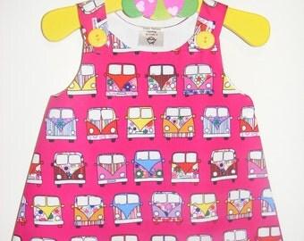Camper Vans  Retro  A  Line Style Baby Dress Handmade