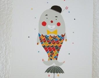 "Print ""Poisson d'avril"" . Clown Wall Art"
